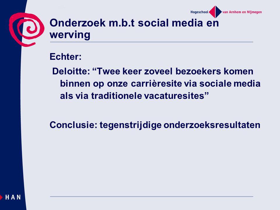 Onderzoek m.b.t social media en werving