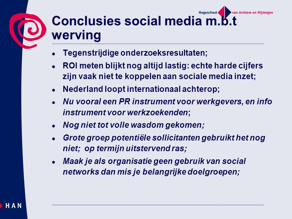 Conclusies social media m.b.t werving