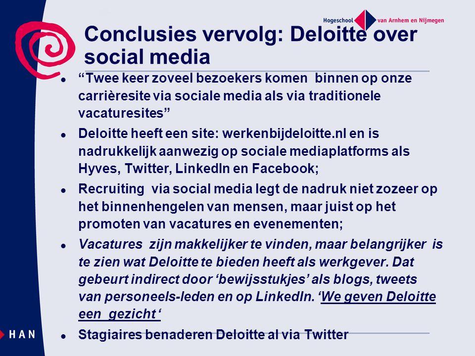 Conclusies vervolg: Deloitte over social media
