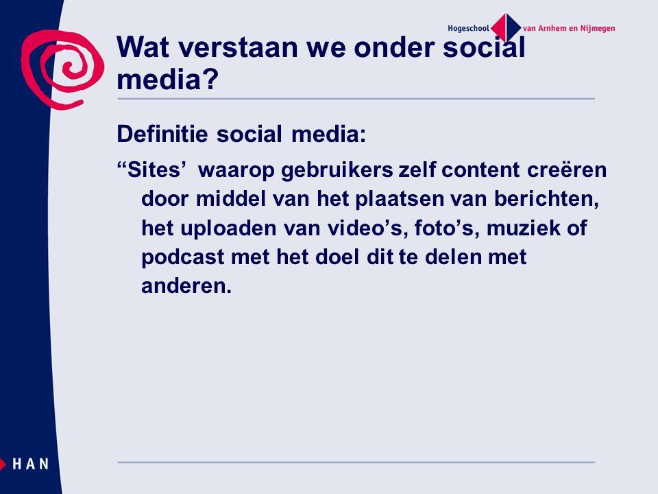 Wat verstaan we onder social media