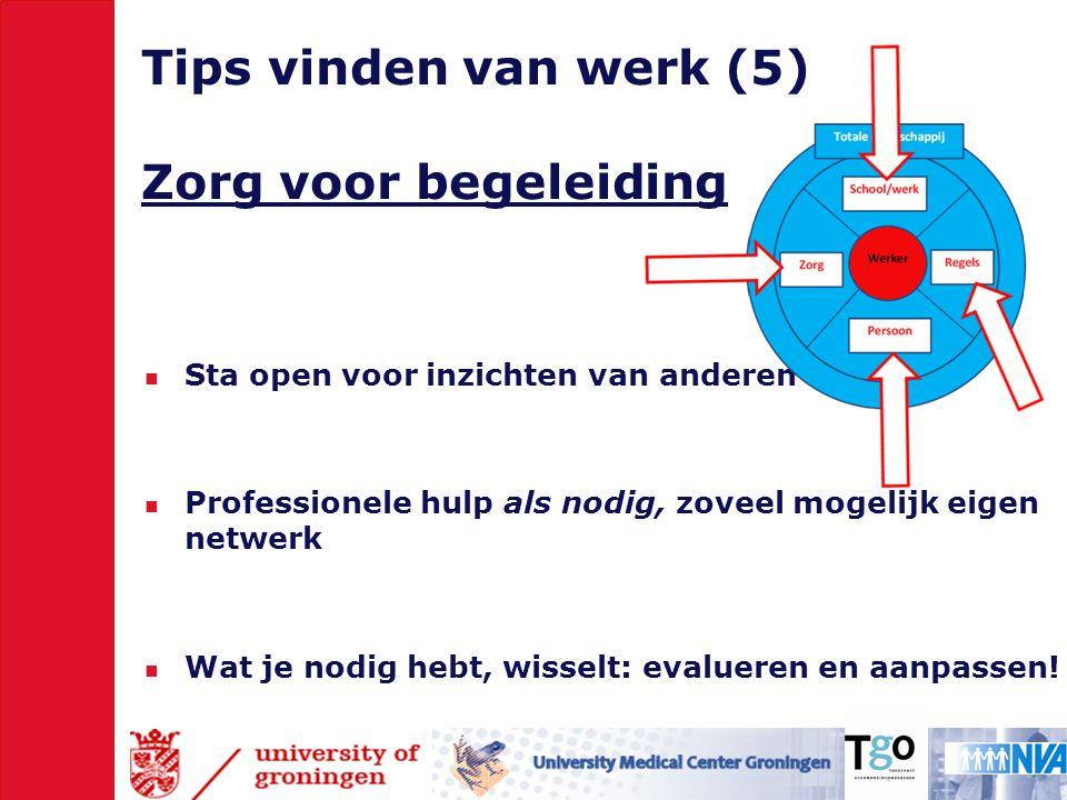 Tips vinden van werk (5) Zorg voor begeleiding