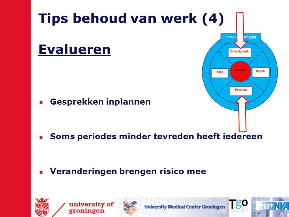 Tips behoud van werk (4) Evalueren