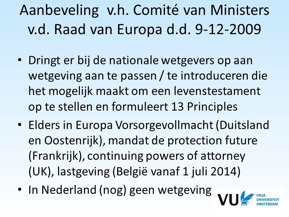 Aanbeveling v. h. Comité van Ministers v. d. Raad van Europa d. d