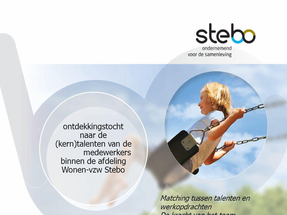 1 ontdekkingstocht naar de (kern)talenten van de medewerkers binnen de afdeling Wonen-vzw Stebo. Matching tussen talenten en werkopdrachten.