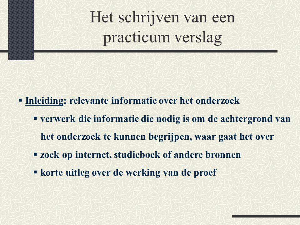Het schrijven van een practicum verslag