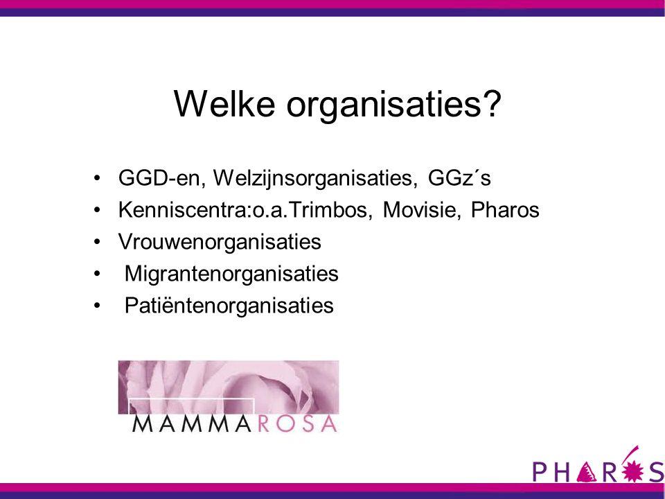 Welke organisaties GGD-en, Welzijnsorganisaties, GGz´s