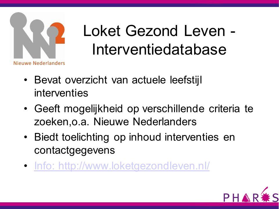 Loket Gezond Leven - Interventiedatabase