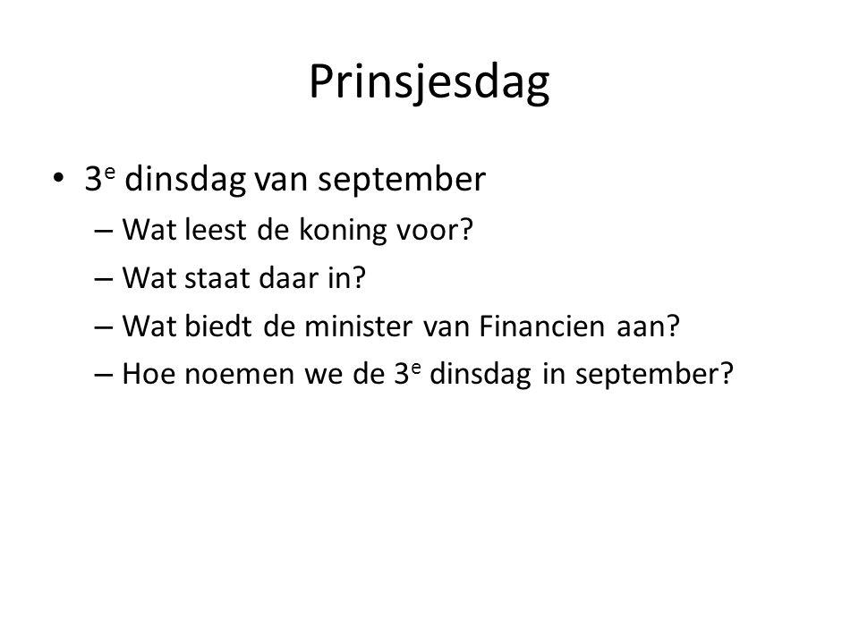 Prinsjesdag 3e dinsdag van september Wat leest de koning voor