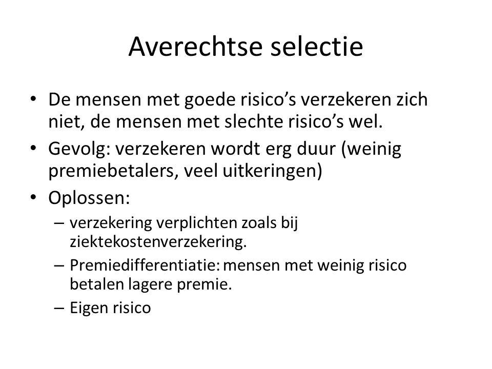 Averechtse selectie De mensen met goede risico's verzekeren zich niet, de mensen met slechte risico's wel.
