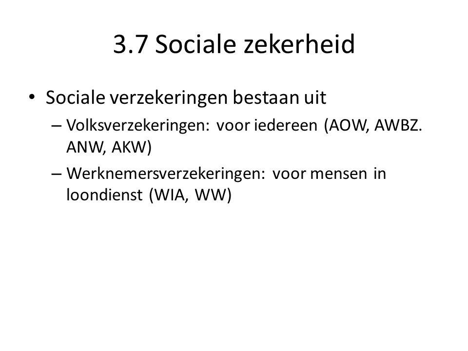 3.7 Sociale zekerheid Sociale verzekeringen bestaan uit