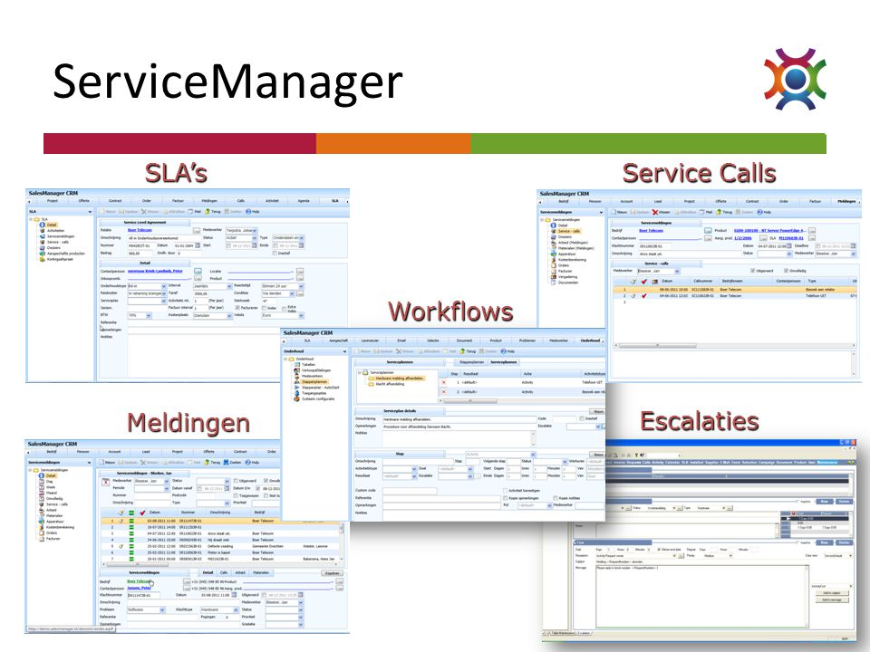 ServiceManager SLA's Service Calls Workflows Meldingen Escalaties