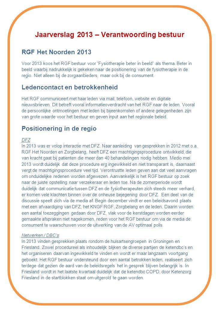 Jaarverslag 2013 – Verantwoording bestuur