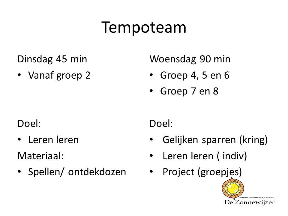 Tempoteam Dinsdag 45 min Vanaf groep 2 Doel: Leren leren Materiaal: