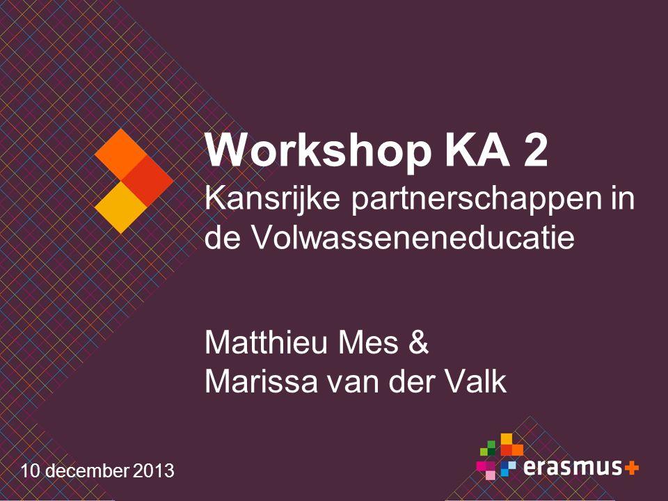 Workshop KA 2 Kansrijke partnerschappen in de Volwasseneneducatie