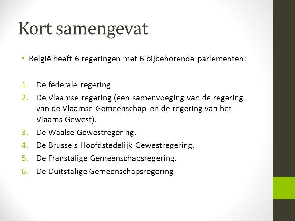 Kort samengevat België heeft 6 regeringen met 6 bijbehorende parlementen: De federale regering.