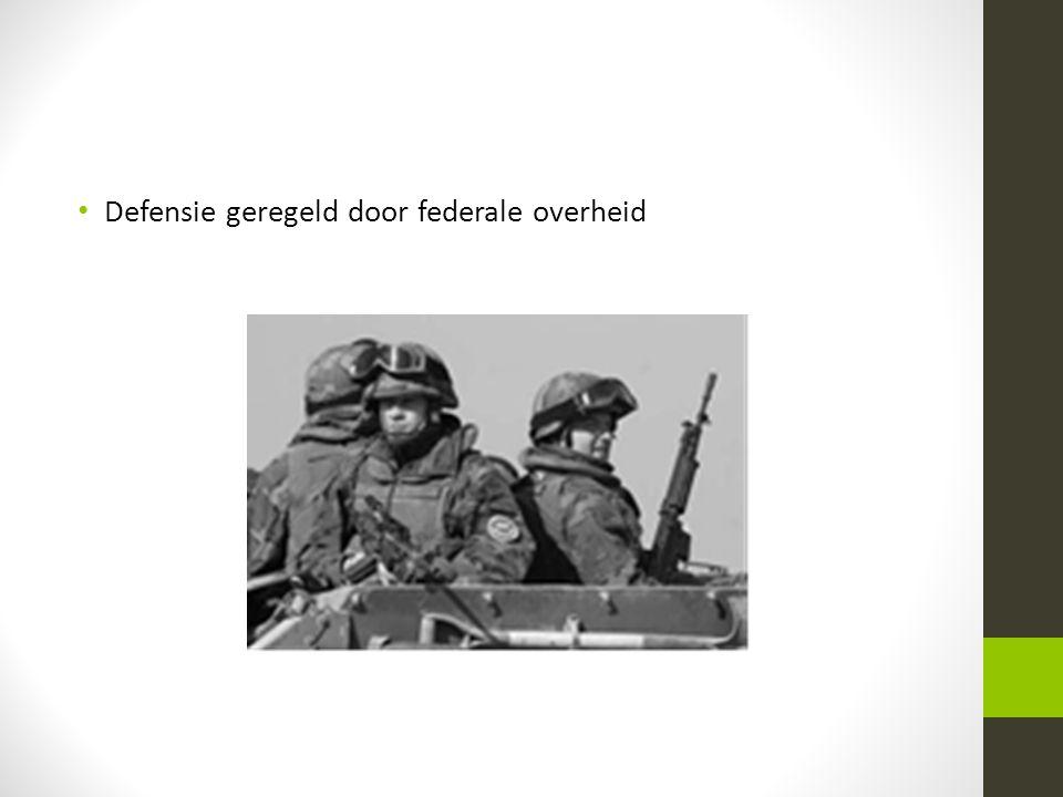Defensie geregeld door federale overheid