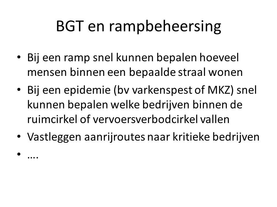 BGT en rampbeheersing Bij een ramp snel kunnen bepalen hoeveel mensen binnen een bepaalde straal wonen.