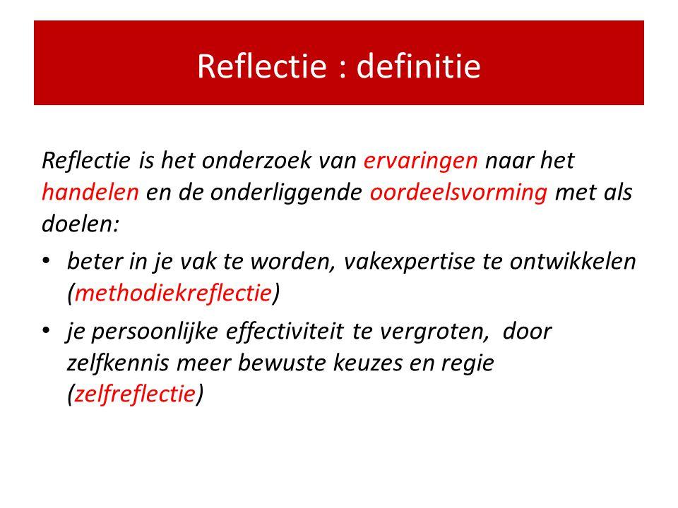 Reflectie : definitie Reflectie is het onderzoek van ervaringen naar het handelen en de onderliggende oordeelsvorming met als doelen: