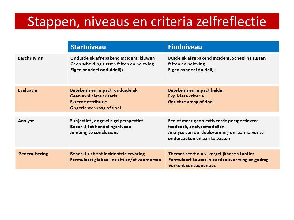 Stappen, niveaus en criteria zelfreflectie