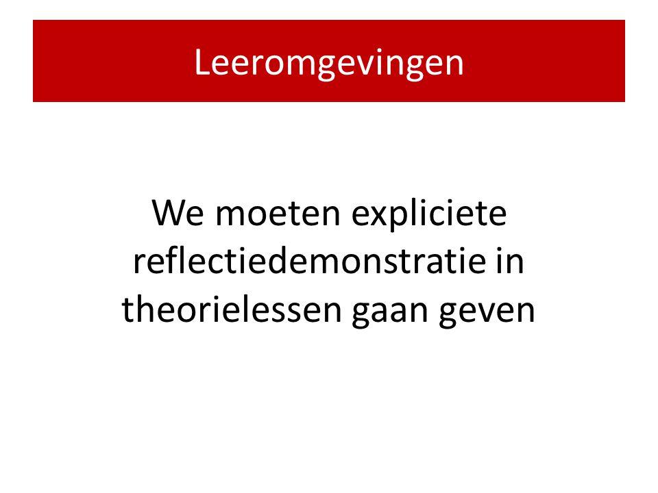 We moeten expliciete reflectiedemonstratie in theorielessen gaan geven