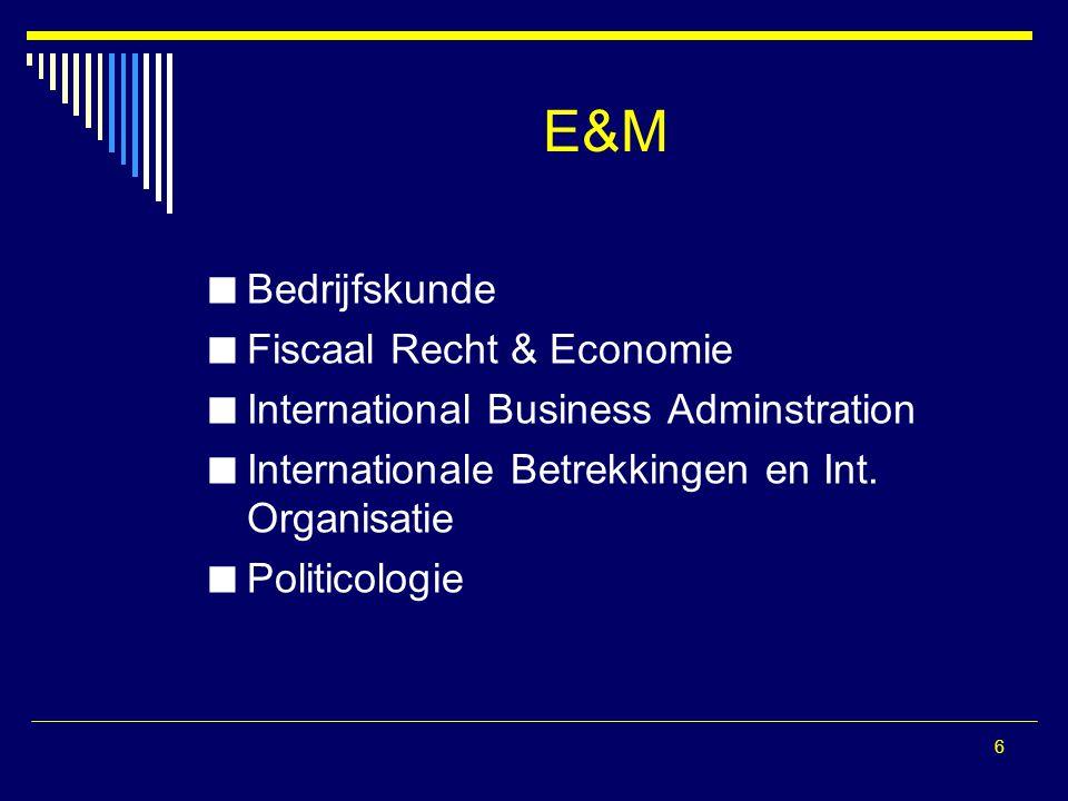 E&M Bedrijfskunde Fiscaal Recht & Economie