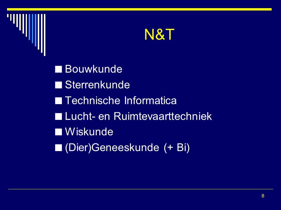 N&T Bouwkunde Sterrenkunde Technische Informatica