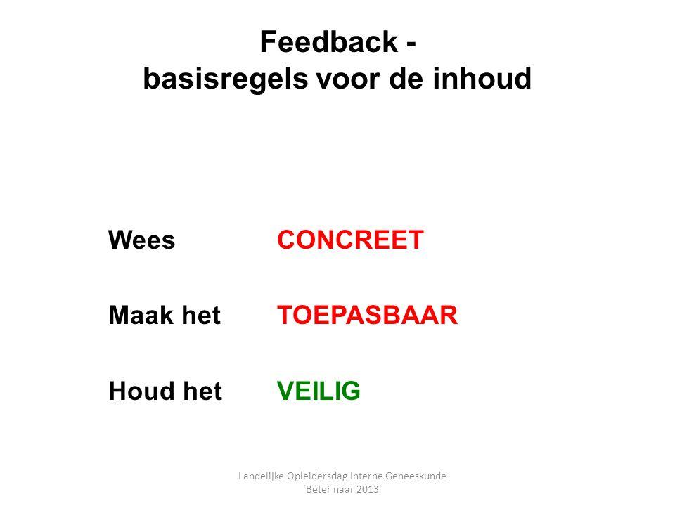 Feedback - basisregels voor de inhoud