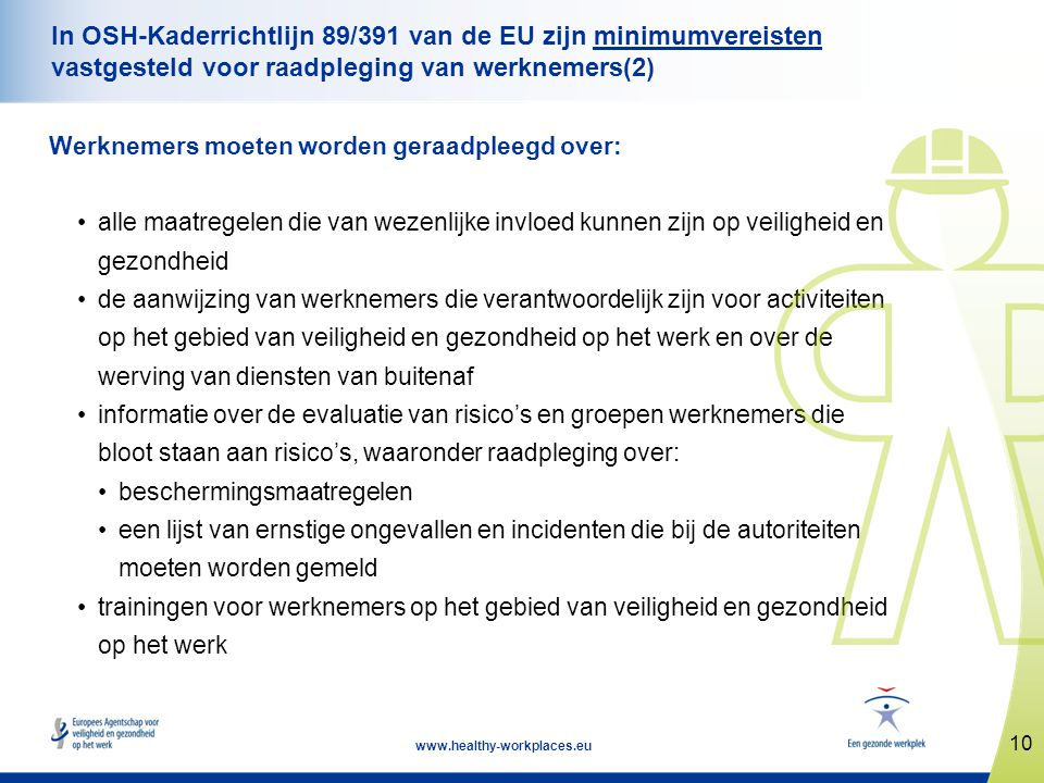 In OSH-Kaderrichtlijn 89/391 van de EU zijn minimumvereisten vastgesteld voor raadpleging van werknemers(2)