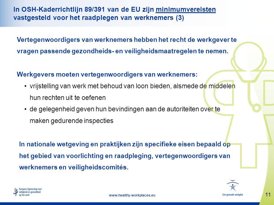 In OSH-Kaderrichtlijn 89/391 van de EU zijn minimumvereisten vastgesteld voor het raadplegen van werknemers (3)