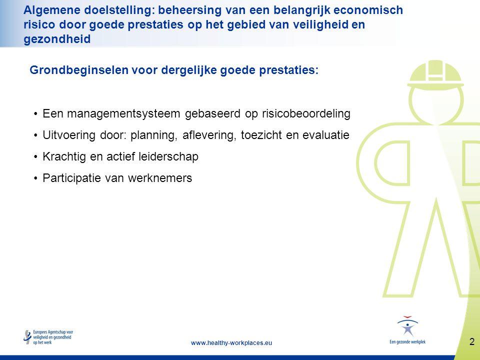 Algemene doelstelling: beheersing van een belangrijk economisch risico door goede prestaties op het gebied van veiligheid en gezondheid