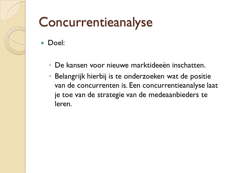 Concurrentieanalyse Doel: