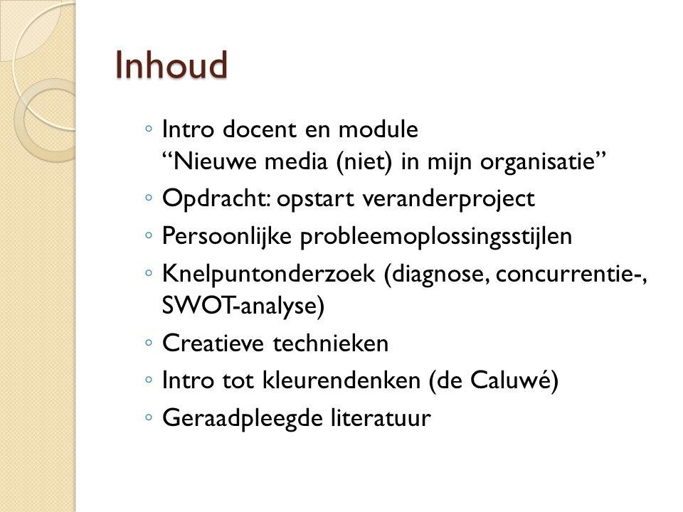 Inhoud Intro docent en module Nieuwe media (niet) in mijn organisatie Opdracht: opstart veranderproject.