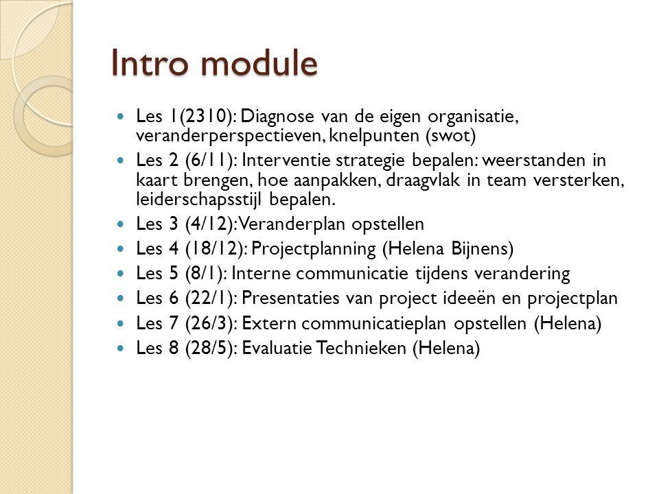 Intro module Les 1(2310): Diagnose van de eigen organisatie, veranderperspectieven, knelpunten (swot)