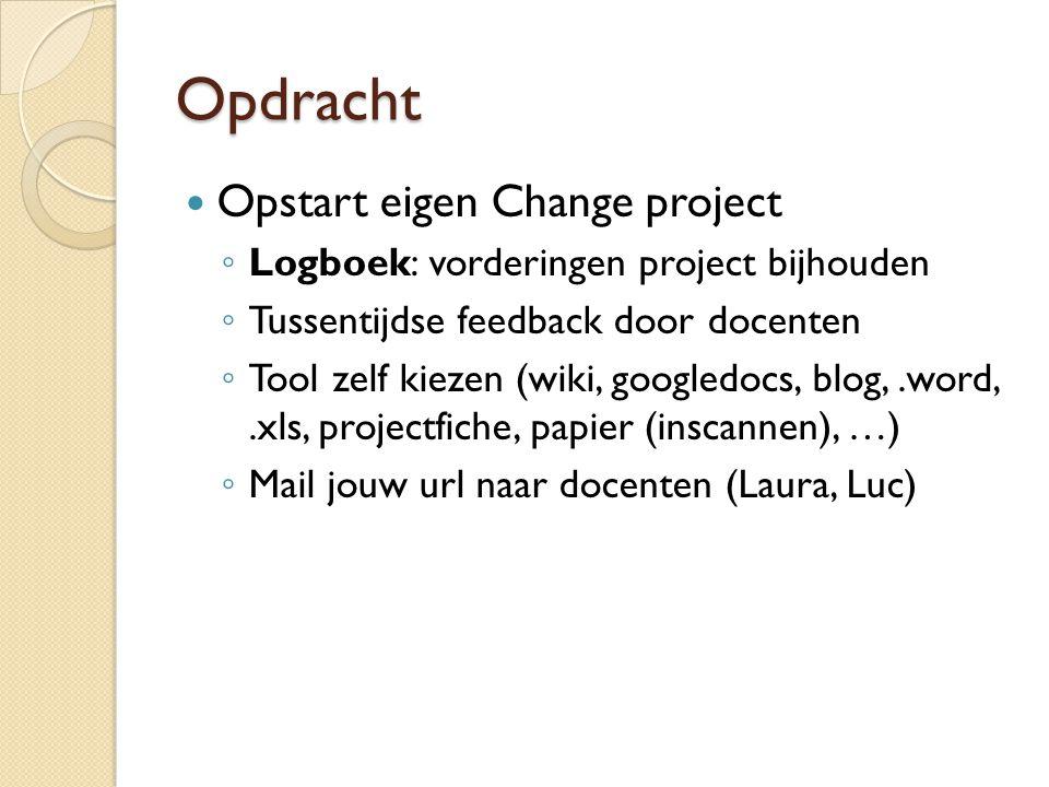 Opdracht Opstart eigen Change project