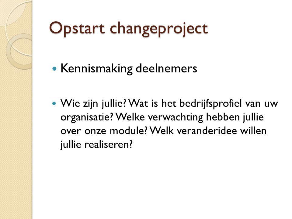 Opstart changeproject