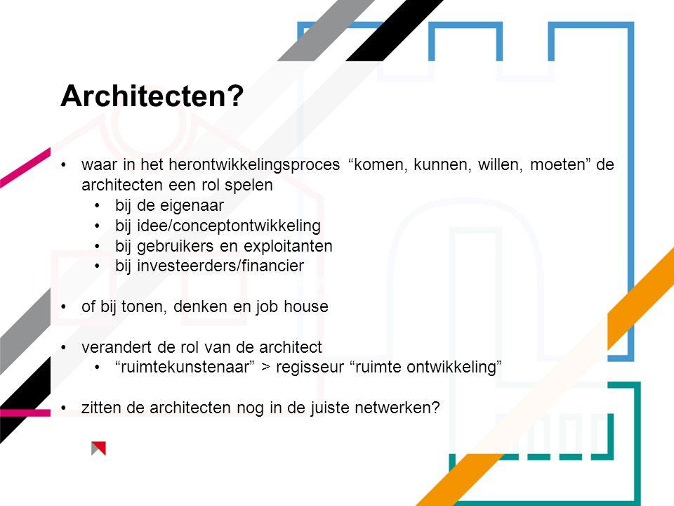 Architecten waar in het herontwikkelingsproces komen, kunnen, willen, moeten de architecten een rol spelen.