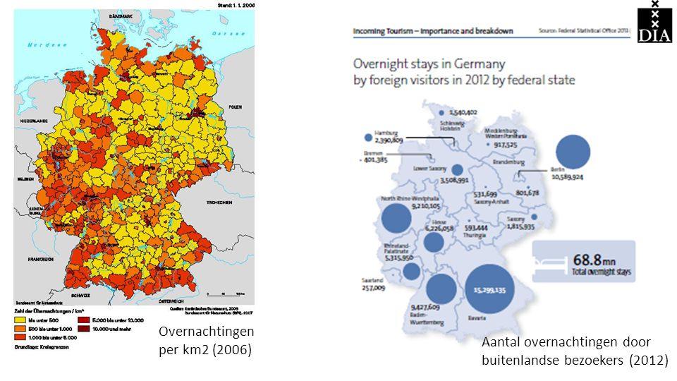 Overnachtingen per km2 (2006)