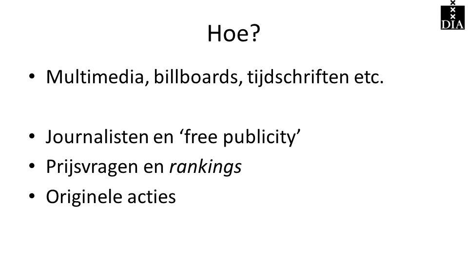 Hoe Multimedia, billboards, tijdschriften etc.