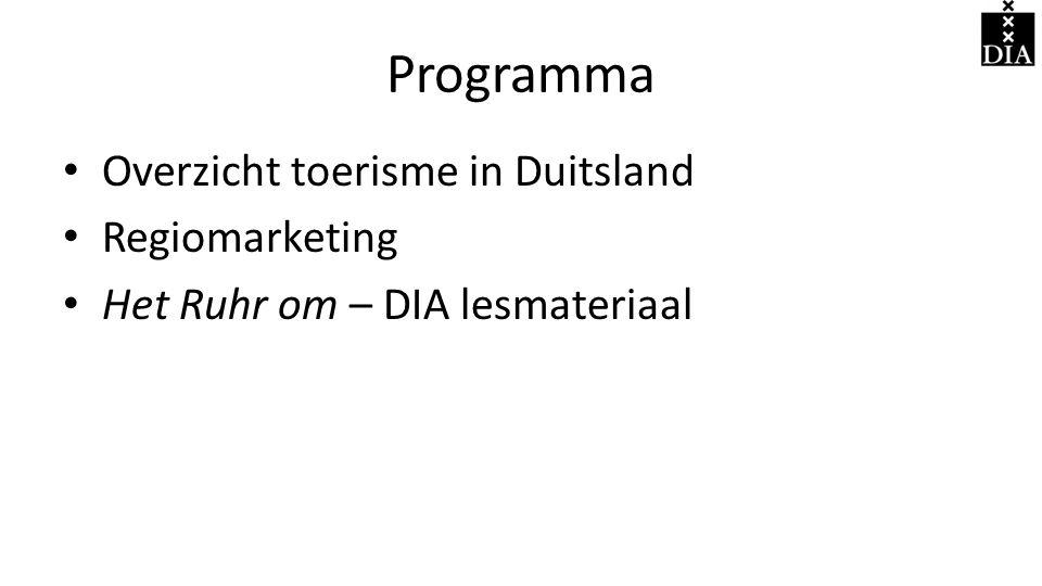 Programma Overzicht toerisme in Duitsland Regiomarketing