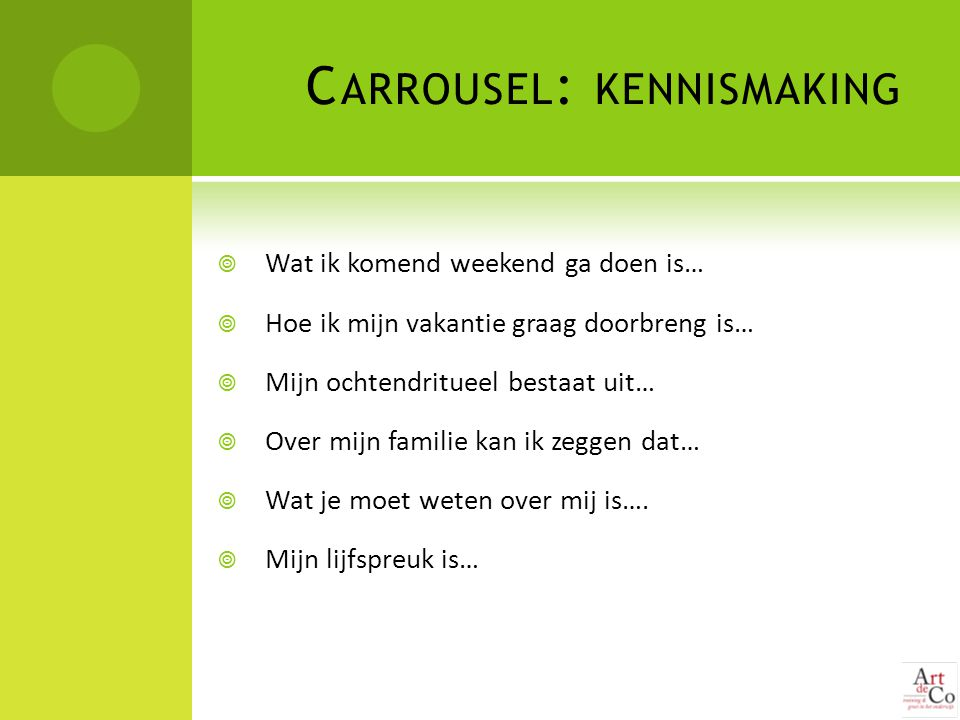 Carrousel: kennismaking