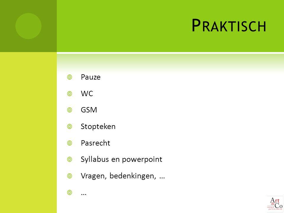 Praktisch Pauze WC GSM Stopteken Pasrecht Syllabus en powerpoint