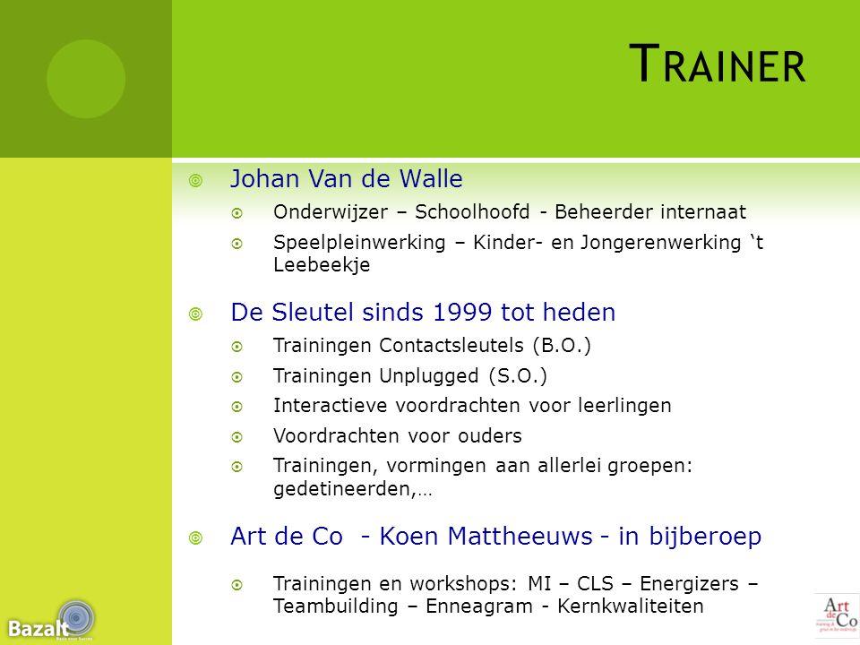 Trainer Johan Van de Walle De Sleutel sinds 1999 tot heden