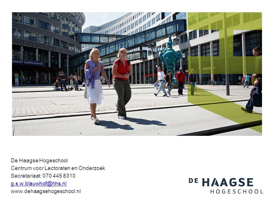 De Haagse Hogeschool Centrum voor Lectoraten en Onderzoek. Secretariaat: 070 445 8310. g.s.w.blauwhof@hhs.nl.