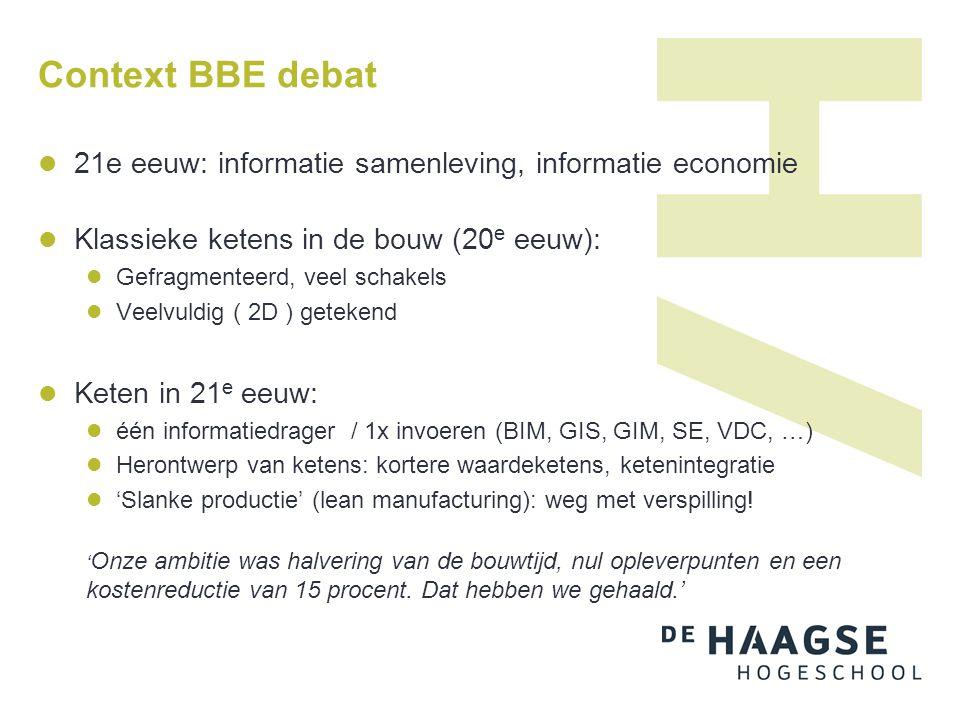 Context BBE debat 21e eeuw: informatie samenleving, informatie economie. Klassieke ketens in de bouw (20e eeuw):