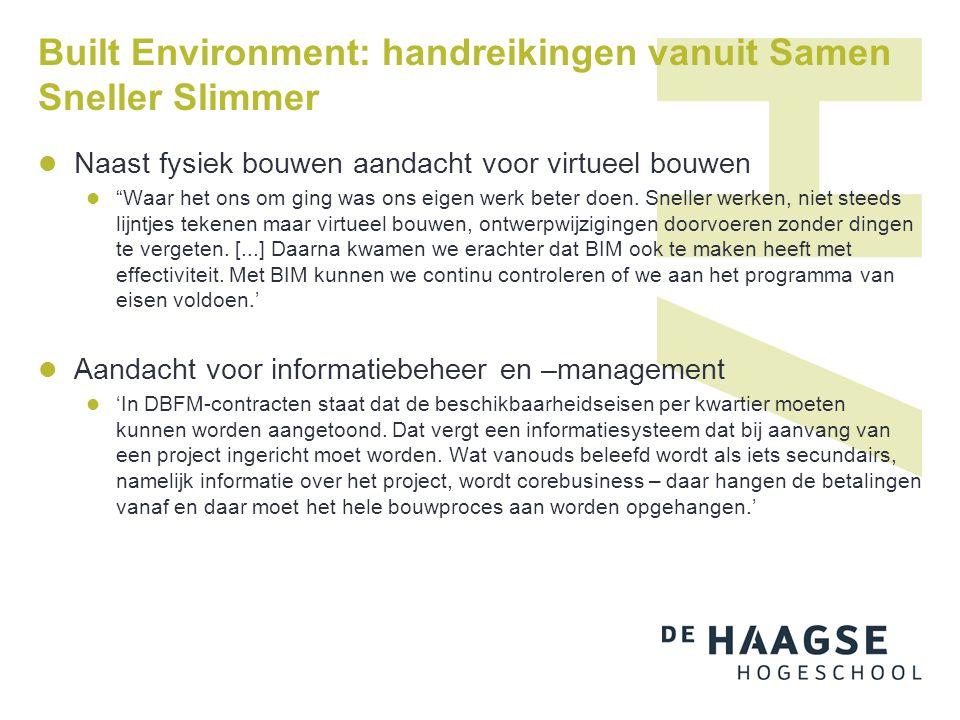 Built Environment: handreikingen vanuit Samen Sneller Slimmer