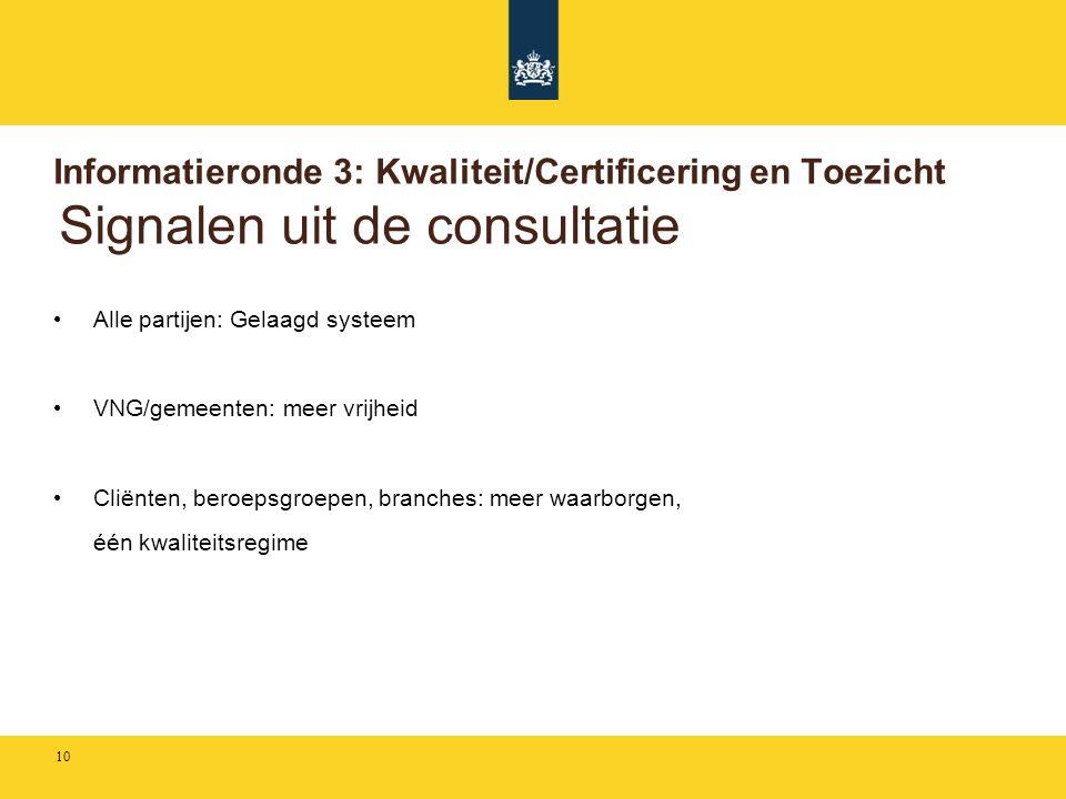 Informatieronde 3: Kwaliteit/Certificering en Toezicht Signalen uit de consultatie