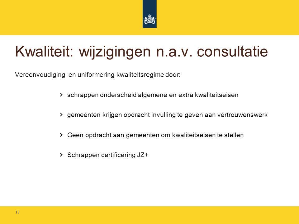 Kwaliteit: wijzigingen n.a.v. consultatie
