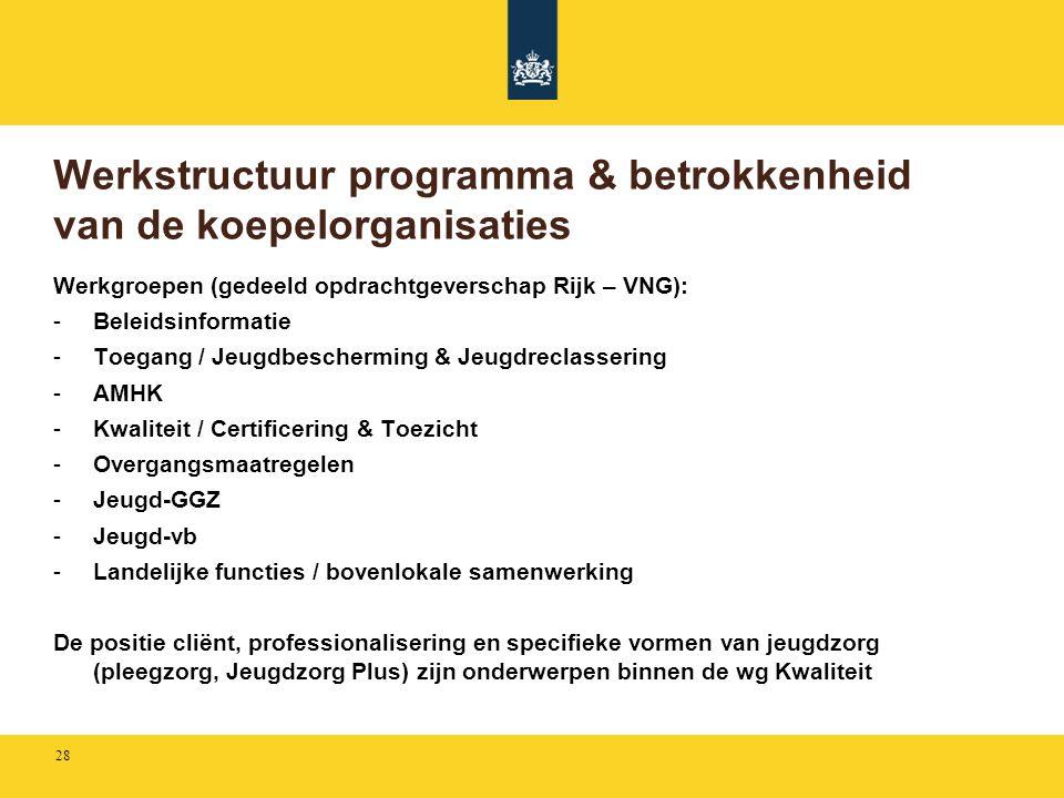 Werkstructuur programma & betrokkenheid van de koepelorganisaties