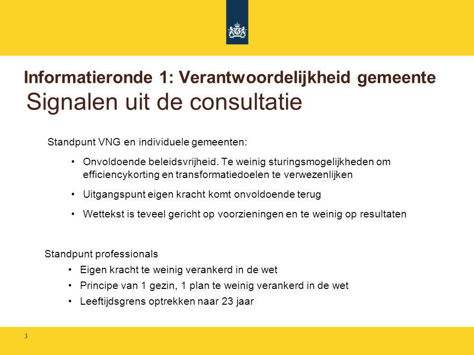Informatieronde 1: Verantwoordelijkheid gemeente Signalen uit de consultatie