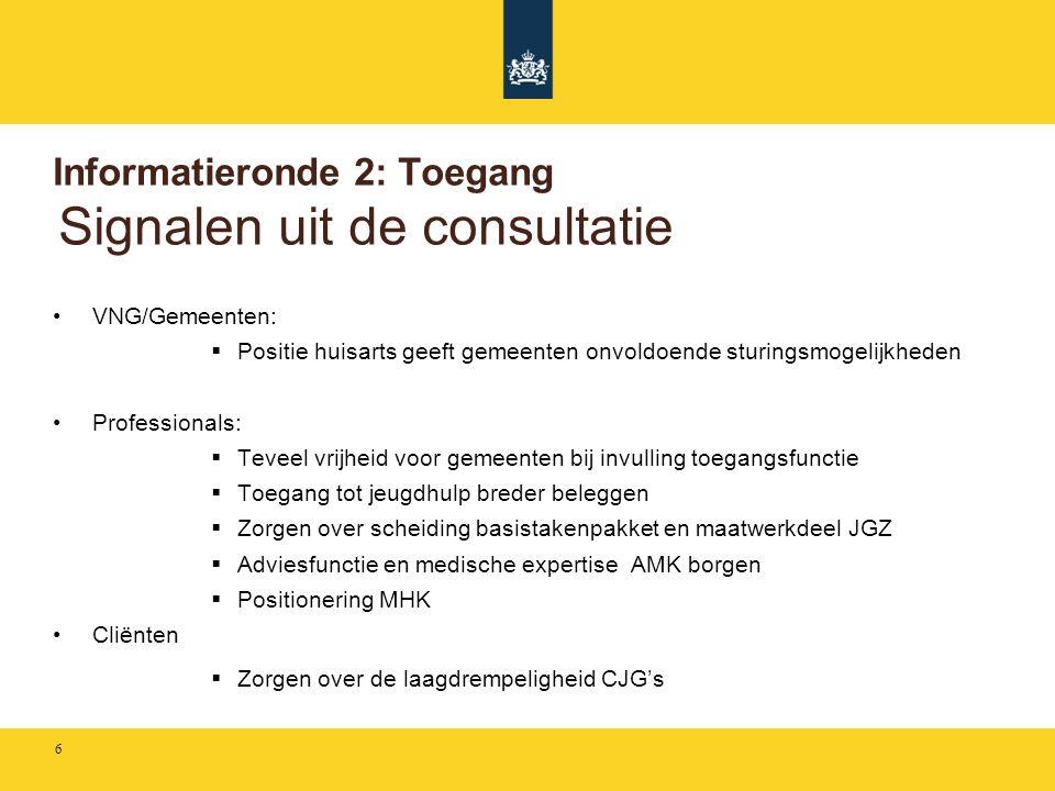 Informatieronde 2: Toegang Signalen uit de consultatie
